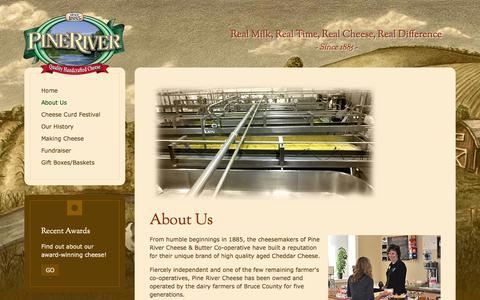 Screenshot of About Page pinerivercheese.com - PineRiver Cheese - About Us - captured July 21, 2015