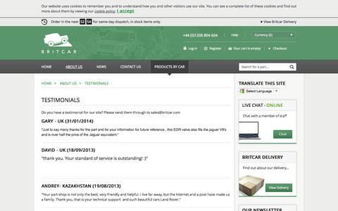 Screenshot of Testimonials Page brit-car.co.uk - Testimonials > About us > Home > Britcar (UK) Ltd - captured Sept. 22, 2014