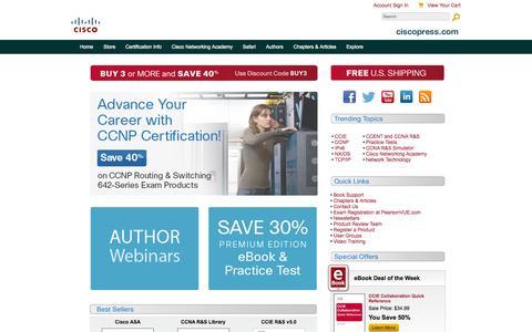 Screenshot of Home Page ciscopress.com - Cisco Press: Source for Cisco Technology, CCNA, CCNP, CCIE Self-Study - captured Sept. 19, 2014