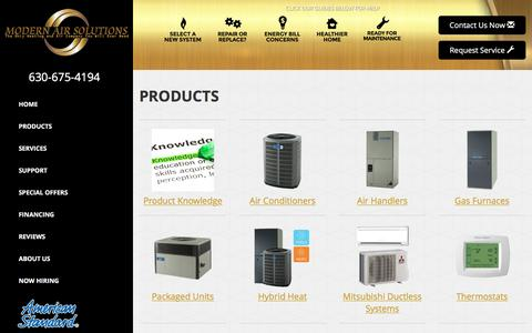 Screenshot of Products Page modern-air-solutions.com - Heating & Air Conditioning Product Offering - Modern Air Solutions, Oswego, IL  60543 -  American-Standard - captured Aug. 13, 2016