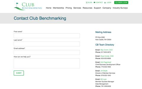 Screenshot of Contact Page clubbenchmarking.com - Contact Club Benchmarking - captured May 18, 2017