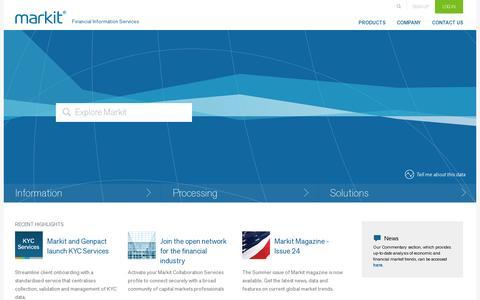 Screenshot of Home Page markit.com - Markit – Financial Information Services - captured July 10, 2014