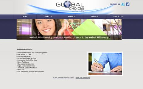 Screenshot of Products Page globalchoices.co.za - Global Choices - Assistance Products - captured Oct. 2, 2014