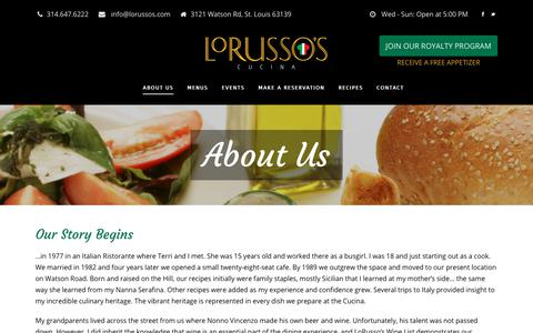 Screenshot of About Page lorussos.com - About Us - LoRusso's Cucina - captured Sept. 25, 2018