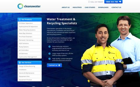 Screenshot of Home Page cleanawater.com.au - Waste Water Treatment | Cleanawater - captured Jan. 23, 2016
