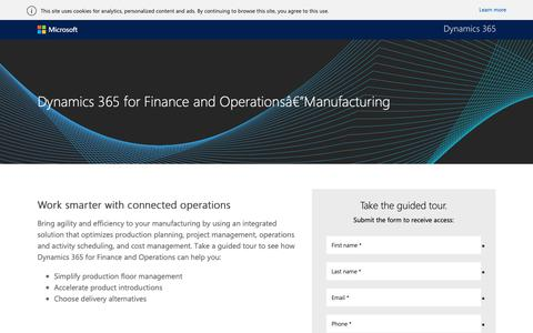 Screenshot of Landing Page microsoft.com - Microsoft Dynamics 365 for Finance and Operations Guided Tours - captured Oct. 30, 2018