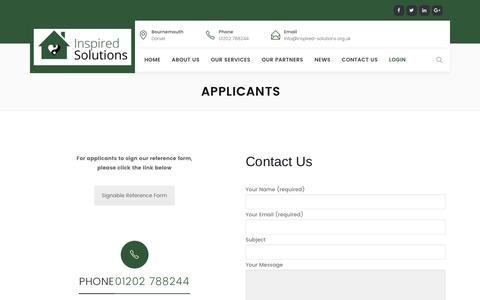 Screenshot of Login Page inspired-solutions.org.uk - Applicants | inspired-solutions.org.uk - captured June 7, 2017