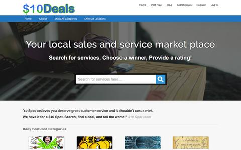 Screenshot of Home Page 10spotgigs.com - 10 Spot DEALS - Sales and Service for a $10 spot - captured Feb. 24, 2016