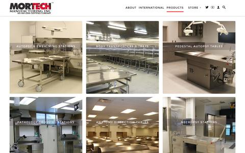 Screenshot of Products Page mortechmfg.com - Products                           | Mortech Manufacturing Company Inc. Quality Stainless Steel Autopsy, Morgue, Funeral Home, Necropsy, Veterinary / Anatomy, Dissection Equipment and Accessories - captured Nov. 30, 2016