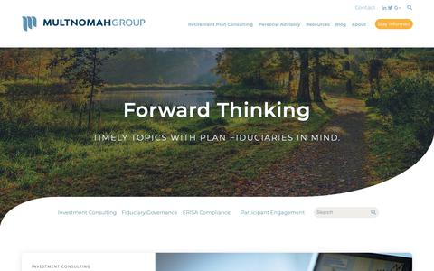 Screenshot of Blog multnomahgroup.com - Forward Thinking - captured Oct. 18, 2018