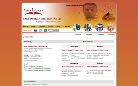 Screenshot of Contact Page sarainfoway.com - Sara Infoway ITES India Pvt Ltd - IT Infrastructure Services Company | System Integration in India | Hardware Solutions in Hyderabad, Chennai, Mumbai, Pune | ITIL Consulting India | Microsoft Practice India | Microsoft Solutions India | Remote Infras - captured Oct. 3, 2014