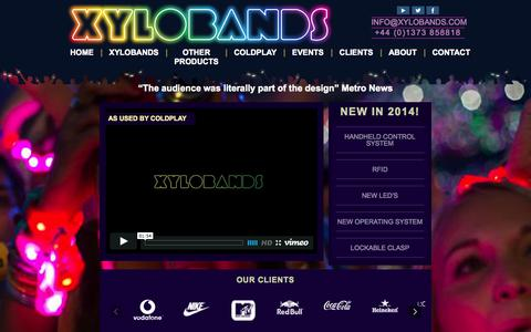 Screenshot of Home Page xylobands.com - LED wristbands and wearable technology products | Xylobands - captured Oct. 6, 2014