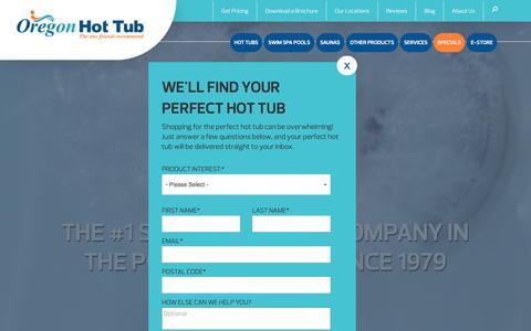 Screenshot of Home Page oregonhottub.com - Hot Tubs, Swim Spas, Saunas, Portland, Bend, Vancouver, Sale - captured Oct. 21, 2017