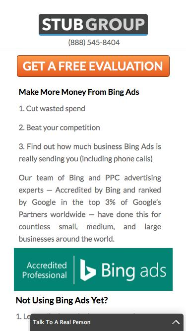 Free Bing Ads Evaluation — StubGroup | A premier pay-per-click advertising agency