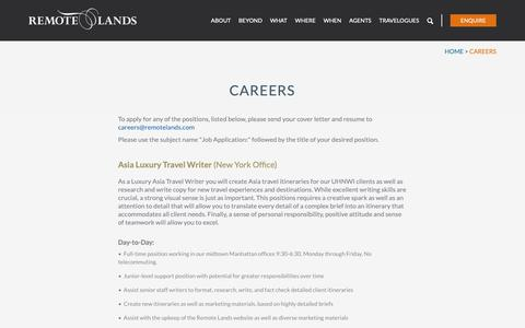 Screenshot of Jobs Page remotelands.com - Asia Luxury Travel | Remote Lands | Careers - captured Feb. 8, 2019