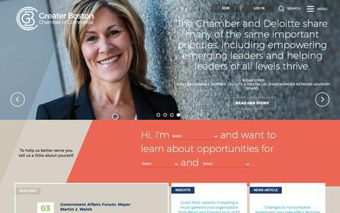 Screenshot of Home Page bostonchamber.com - Greater Boston Chamber of Commerce   Home   Greater Boston Chamber of Commerce - captured Sept. 30, 2018
