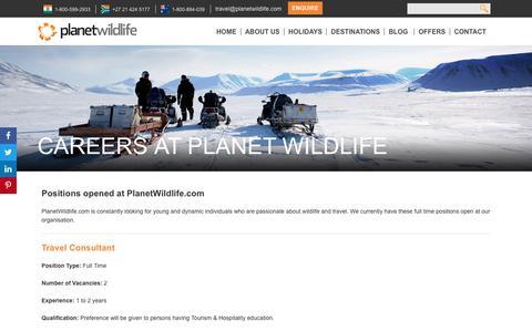 Screenshot of Jobs Page planetwildlife.com - Careers | Planetwildlife: Nature, Adventure, Offbeat & Luxury Travel - captured July 19, 2018