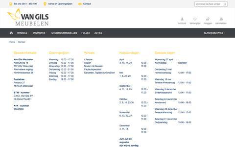 Screenshot of Contact Page vangils.nl - Contact - captured Dec. 18, 2016