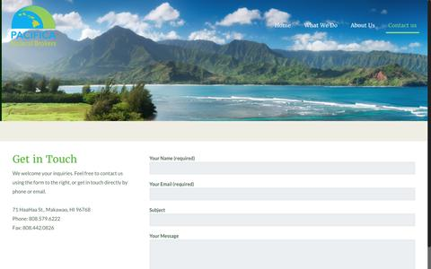 Screenshot of Contact Page pacificanaturalbrokers.com - Contact us – Pacifica Natural Brokers - captured May 13, 2017