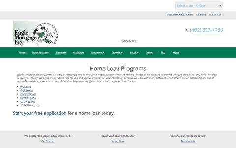 Screenshot of Products Page eaglemortgagecompany.com - Eagle Mortgage Company for Home Loans and Refinancing - captured Sept. 26, 2018