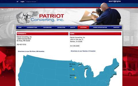 Screenshot of Locations Page patriotconverting.com - Locations - captured Sept. 27, 2018
