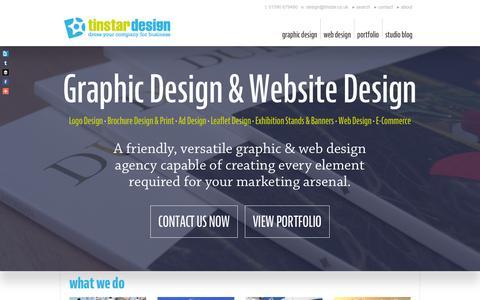 Screenshot of Home Page tinstar.co.uk - Web Design & Graphic Design Hampshire, Tinstar Design of Lymington - captured Feb. 23, 2016
