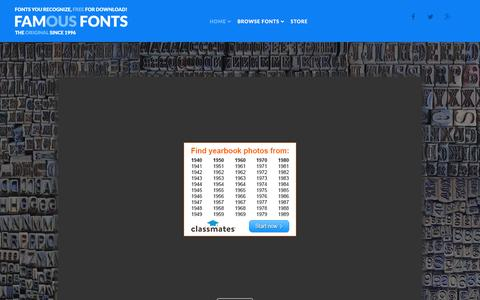 Screenshot of Home Page famfonts.com - Famous Fonts - Fonts you recognize, FREE for download! - Welcome! - captured June 20, 2015