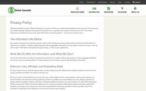 Screenshot of Privacy Page bc.com - Privacy Policy - Boise Cascade - captured Nov. 23, 2016