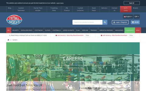 Screenshot of Jobs Page footballamerica.co.uk - Careers - captured Sept. 23, 2018