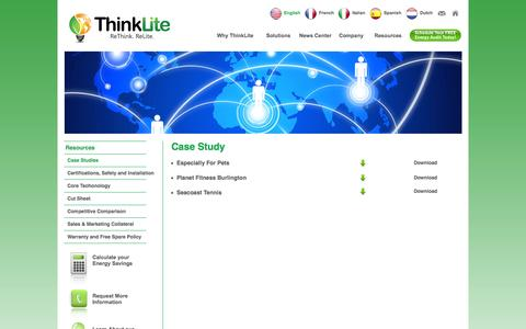 Screenshot of Case Studies Page thinklite.com - ThinkLite LLC - captured Nov. 13, 2015