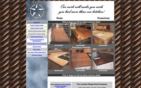 Screenshot of Menu Page custom-rangehoods.com - Custom Butcherblock Countertops - captured April 12, 2016