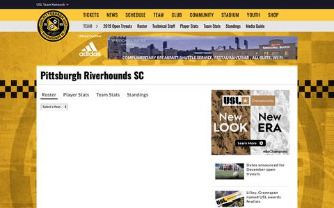 Screenshot of Team Page riverhounds.com - Pittsburgh Riverhounds SC - captured Nov. 10, 2018