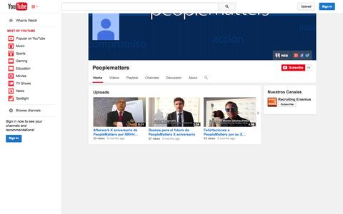 Screenshot of YouTube Page youtube.com - Peoplematters  - YouTube - captured Oct. 22, 2014