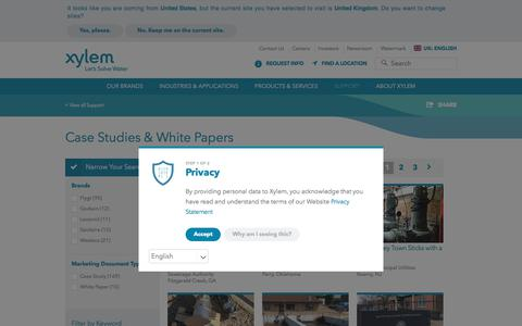 Screenshot of Case Studies Page xylem.com - Case Studies for Water and Wastewater Solutions - Xylem Inc. | Xylem UK - captured July 15, 2018