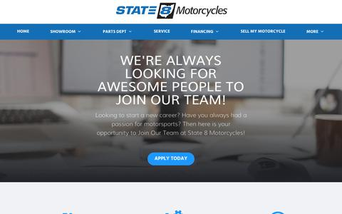 Screenshot of Jobs Page state8.com - Ohio Motorcycle Careers | State 8 Motorcycles - captured Sept. 24, 2018
