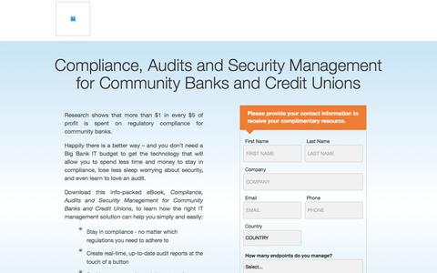 Screenshot of Landing Page kaseya.com - Compliance, Audits and Security Management for Community Banks and Credit Unions | Kaseya - captured Sept. 19, 2018