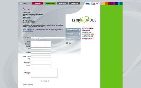 Screenshot of Contact Page lyonbiopole.com - contact - Lyonbiopôle - Pôle de compétitivité mondial en vaccins et diagnostiques - captured Sept. 30, 2014