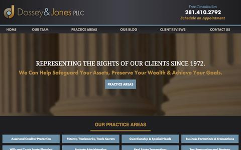 Screenshot of Home Page dossey.com - Texas Attorney | Dossey & Jones, PLLC - captured Sept. 12, 2015
