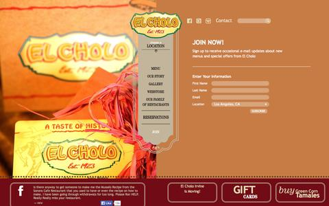 Screenshot of Signup Page elcholo.com - Join Now! | El Cholo Mexican Restaurants - captured Sept. 19, 2014
