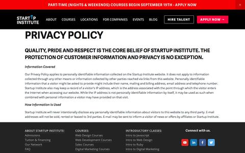 Privacy Policy | Startup Institute