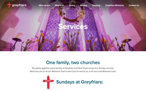 Screenshot of Services Page greyfriars.org.uk - Services - Greyfriars - captured Sept. 30, 2018
