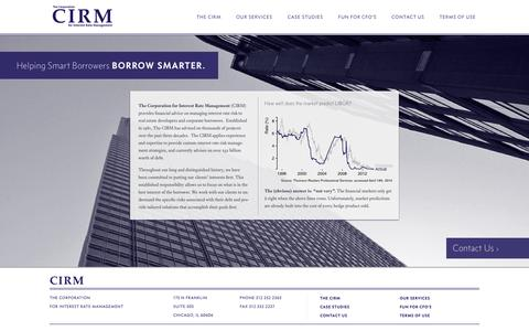 Screenshot of Home Page cirm.com - The Corporation for Interest Rate Management - captured Oct. 6, 2014