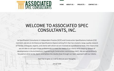 Screenshot of Home Page spec-consultants.com - Associated Spec Consultants - captured Sept. 24, 2016