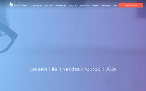 Screenshot of FAQ Page ftptoday.com - Secure File Transfer Protocol FAQs | FTP Today - captured Jan. 8, 2016