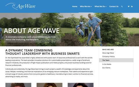 Screenshot of Team Page agewave.com - The Team – Age Wave - captured July 25, 2016