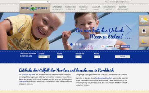 Screenshot of Home Page norddeich.de - Hotel und Ferienwohnung Norddeich, Ostfriesland - Kurverwaltung - Norden - Norddeich - captured Sept. 24, 2014