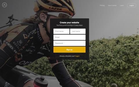 Screenshot of Signup Page medali.st - Medalist – Athlete Website Builder - captured Oct. 27, 2014