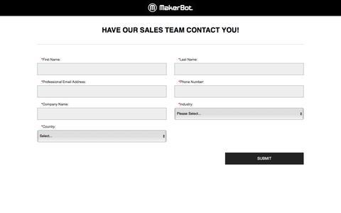 Screenshot of Landing Page makerbot.com - Contact MakerBot Sales - captured Oct. 21, 2016