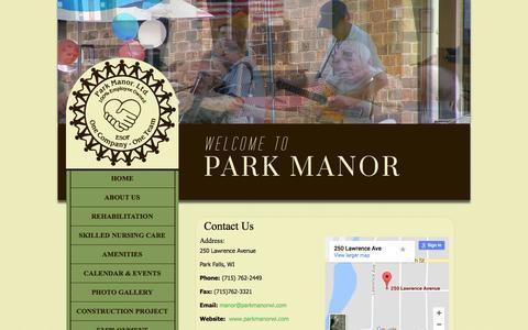 Screenshot of Contact Page parkmanorwi.com - Park Manor - Contact Us - captured July 14, 2017