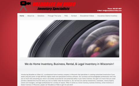 Screenshot of Home Page valuablesonvideo.com - Home Inventory Wisconsin|Home Inventory|Business Inventory|Estate Valuables On Video - captured Oct. 6, 2014